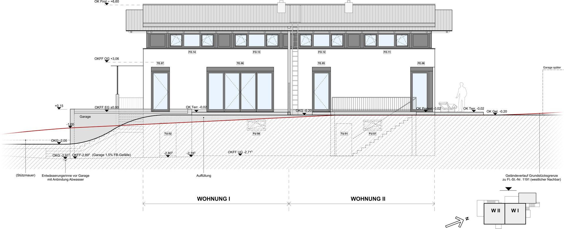 Bauzeichnung Garage baarß löschner freie architekten doppelwohnhaus dr u radebeul